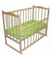 Детская кроватка КФ с фигурной спинкой, опусканием, качалкой и колесами