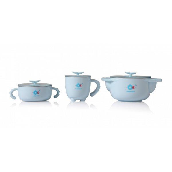 Набор детской посуды Babyhood 5 в 1 для кормления голубой (BH-404B) (6923149602949)