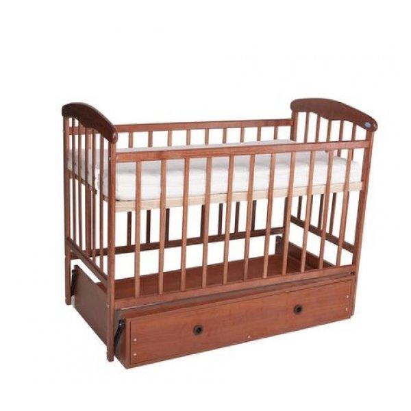 Кроватка для новорожденных Наталка с маятниковым механизмом поперечного качания, цвет темный