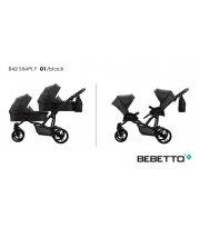Коляска для двойни 2в1 Bebetto 42 Simply (04) черный