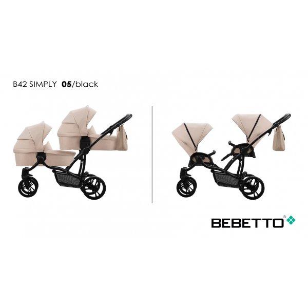 Коляска для двойни 2в1 Bebetto 42 Simply (05) бежевый