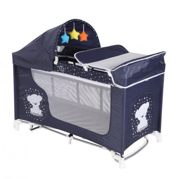 Кровать - манеж LORELLI Moonlight 2 plus rocker dark blue teddy bear