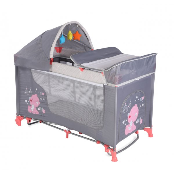 Кровать - манеж LORELLI Moonlight 2 plus rocker pink&grey my baby