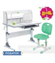 Комплект для школьников растущая парта Cubby Nerine Grey + детский стул FunDesk SST2 Green