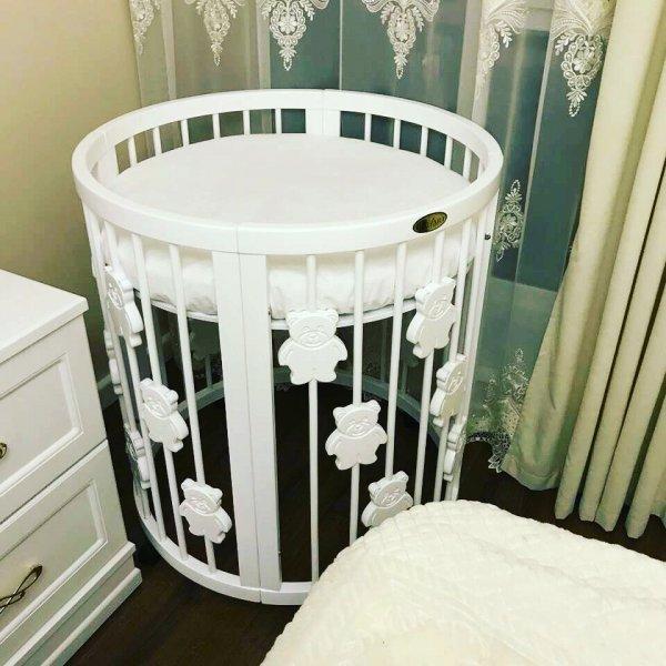 Круглая кроватка - трансформер IngVart SMART BED ROUND 9-в-1 с мишками