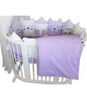 Набор постельного белья Котята мишки и домики в сиреневых тонах