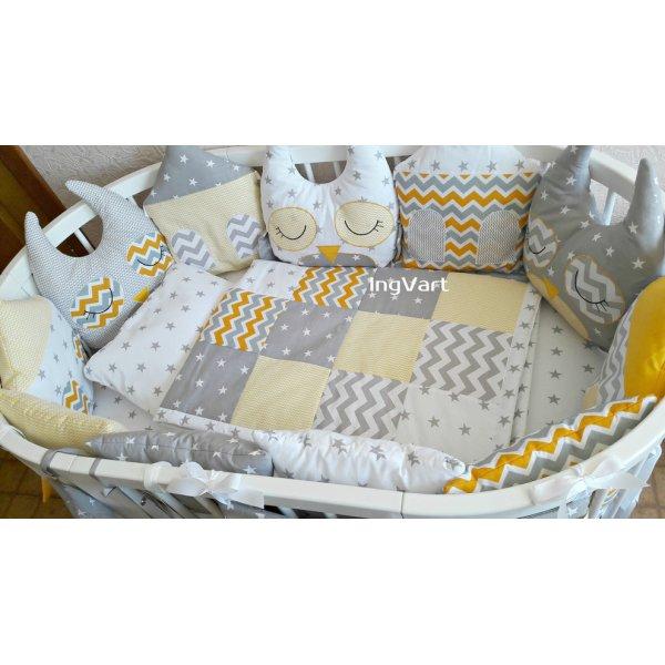 Комплект 8-в-1 Совушки и домики серо - желтый