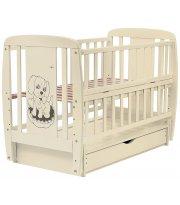 Кровать Babyroom Собачка маятник, ящик, откидной бок DSMYO-3 бук слоновая кость