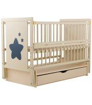 Кровать Babyroom Звездочка Z-03 маятник, ящик, откидной бок бук слоновая кость
