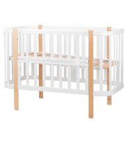 Кровать Babyroom Луна (120x60) белый - светлый (натуральный)