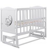 Кровать Babyroom Тедди Т-02 фигурное быльце, маятник, откидной бок белый