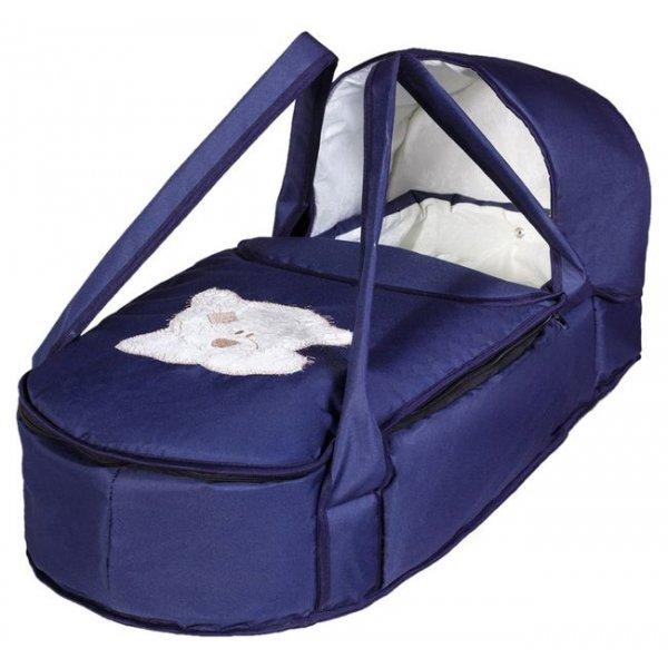 Люлька-переноска Babyroom BLA-056 с твердым дном аппликация темно-синий (мордочка мишки штопаная)