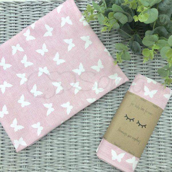 Пеленка бязь Белые бабочки на розовом