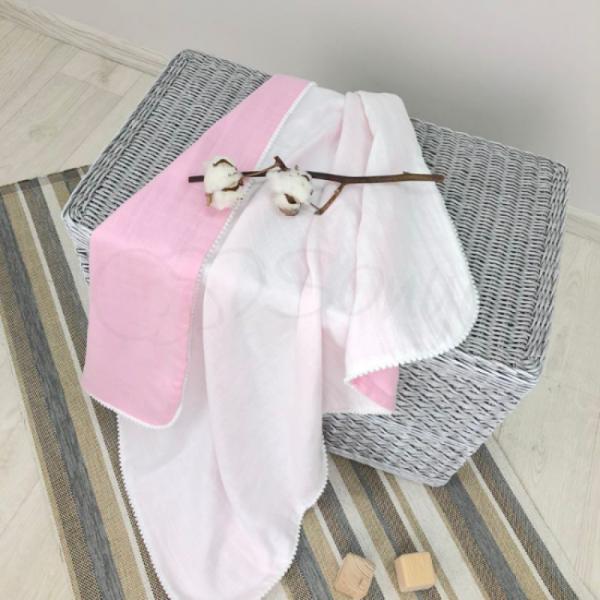 Плед Муслин бело-розовый