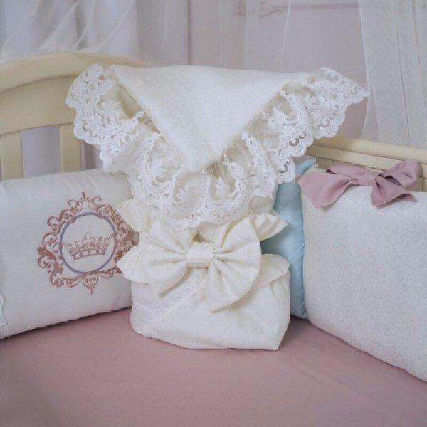 Конверт Elegance резинка с бантом молочный