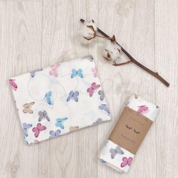 Пеленка фланель бабочки розово-голубые