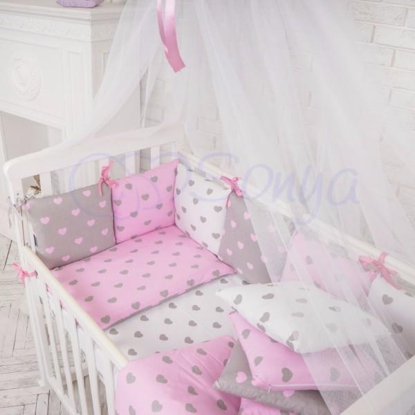 Бортики Baby Design Cеро-розовые сердца
