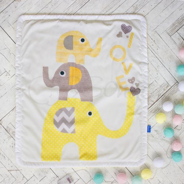 Плед-конверт Арт дизайн Слоники желтые
