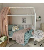 Комплект постельного белья варенка с рюшами мятный