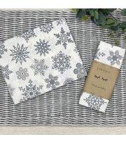 Пеленка бязь снежинки серые на белом