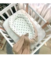 Кокон Baby Design Сердечки серо-бежевые