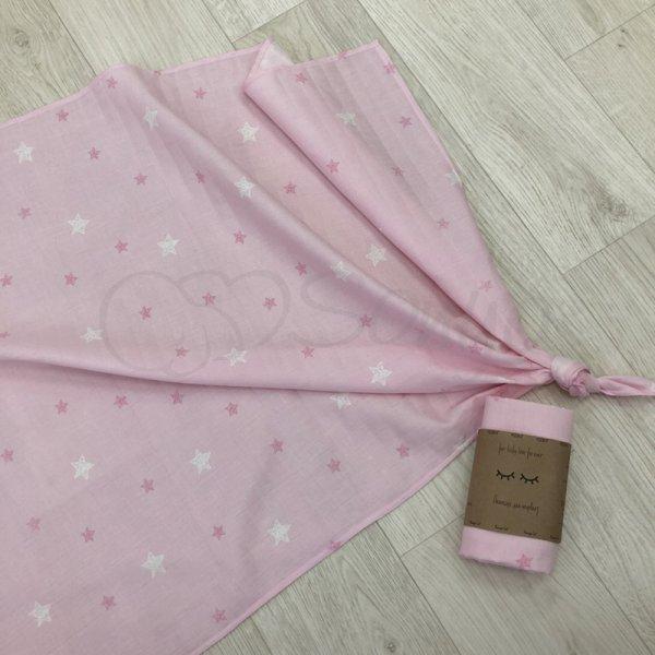 Пеленка муслин звезды на розовом