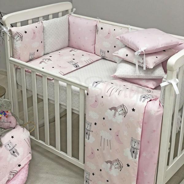 Бортики Baby Design Коты в облаках розовый