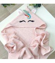 Полотенце-уголок Единорог розовый