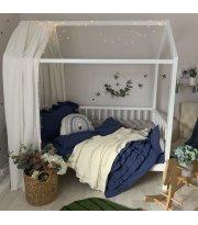 Комплект постельного белья варенка с рюшем синий