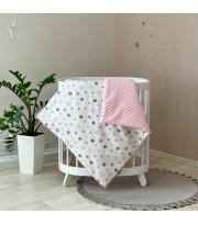 Плед-конверт с одеялом Stars серо - розовый