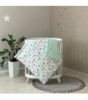 Плед-конверт с одеялом Stars серо - мятный