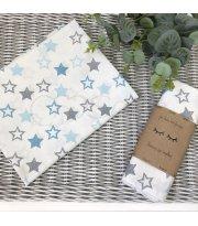 Пеленка бязь Звезды серо-голубые на белом