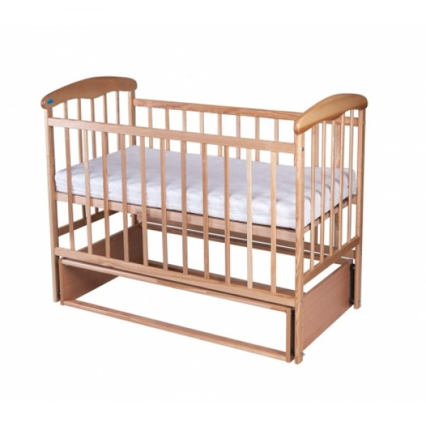 Кроватка Наталка с маятниковым механизмом поперечного качания, цвет светлый