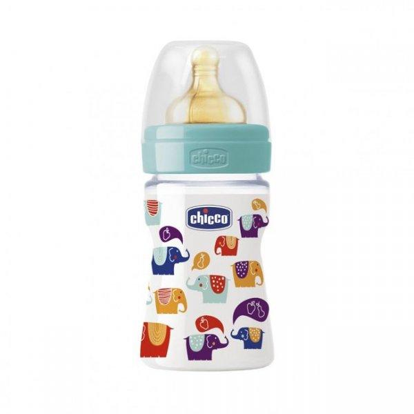 Бутылочка для кормления без BPA Chicco, 150 мл белая с голубым (70720.00.04)