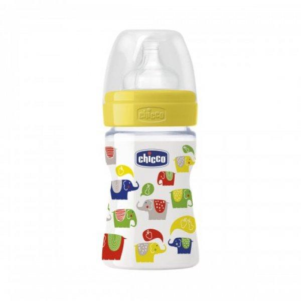 Бутылочка для кормления без BPA Chicco, 150 мл белая с желтым (70720.01.04)