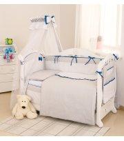 Постельный комплект 8 эл Twins Premium Starlet 4028-P-024, dark blue, серый / синий