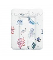 Пеленальный матрас Cebababy 50x70 Watercolor World W-143-123-652, Ocean, белый