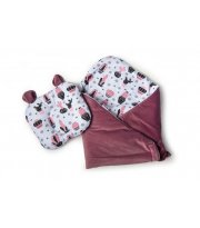 Набор конверт - плед и подушка Twins Bear purpur