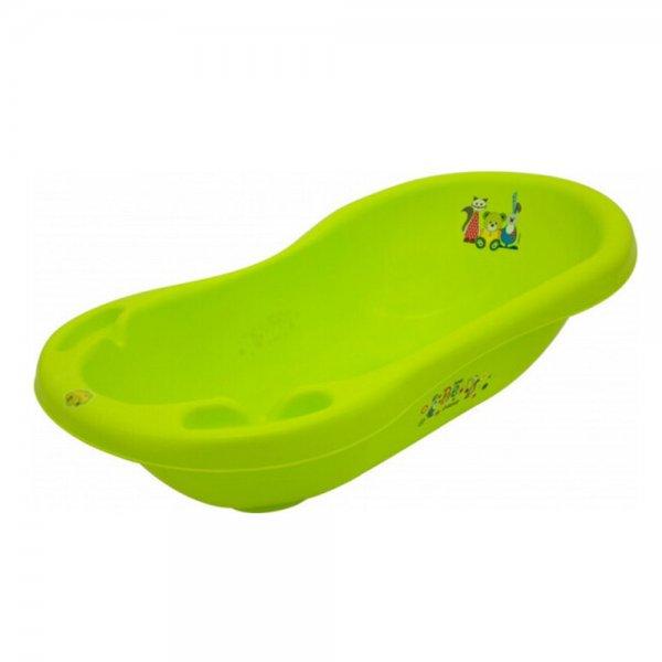 Ванная Maltex Bear & Friends 100 cm со сливом и антискользящим ковриком 5382 green, зеленый