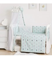Постельный комплект 8 эл Twins Premium Glamour 4029-TG-14R, Кролики mint, мятный