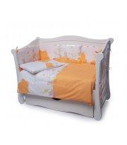 Детская постель Twins Comfort 4 элемента бампер подушки Горошки оранжевый