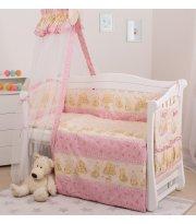 Постельный комплект 8 эл Twins Standard Basic 4050-CB-013, Пушистые мишки розовые, розовый