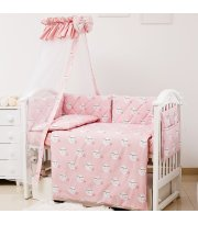 Постельный комплект 8 эл Twins Premium Glamour 4029-TGM-08 Moon pink, розовый