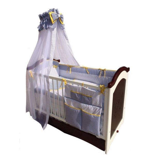Постельный комплект Twins Premium P-007 Glamur синий горошек/желтый