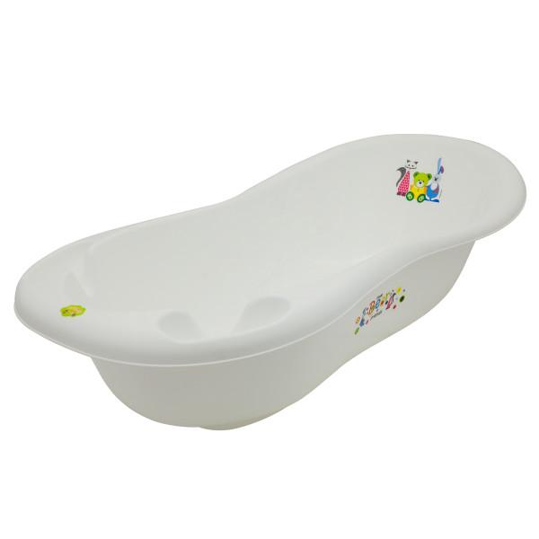 Ванная Maltex Bear & Friends 100 cm со сливом и антискользящим ковриком 5382 white, белый