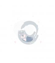 Набір в коляску Twins мусліновий Air (плед, подушка, наматрацник на рез) 1499-TMB-10, Animals pink, білий/сірий