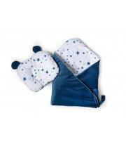 Набор конверт - плед и подушка Twins Bear dark blue