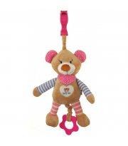Плюшевая подвеска музыкальная Baby Mix STK-16393 Мишка STK-16393P, pink, розовый