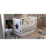 Кровать Дубок Звездочка с ящиком белый, белый