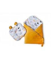 Набор конверт - плед и подушка Twins Bear melon